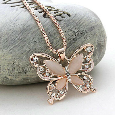 $1.29 • Buy Fashion Women Rose Gold Opal Butterfly Charm Pendant Long Chain Necklace Jewelry