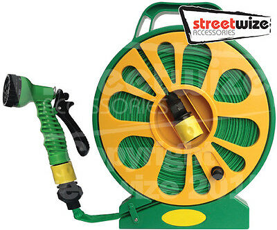Streetwize Super Flat Garden Car Wash Watering Hose Pipe & Reel With Nozzle -15m • 14.99£