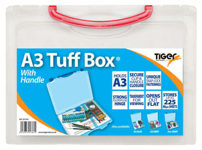 A3 Tuff Box With Handle - Storage Box Paper Art Board Assorted Colour Clips • 9.99£