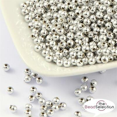 PREMIUM QUALITY SILVER PLATED ACRYLIC SPACER ROUND BEADS 4mm 6mm 8mm 10mm 12mm • 2.39£