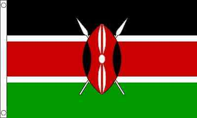 Kenya Flag 5 X 3 FT 100% Polyester With Eyelets National Country Africa IE • 6.75£