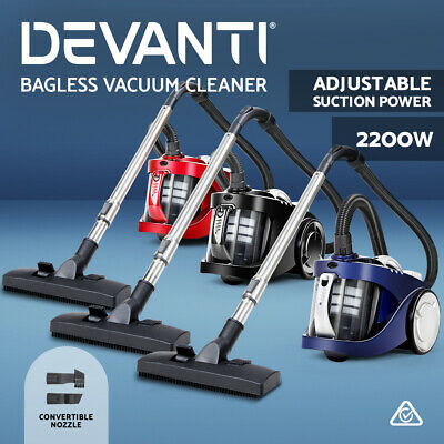 AU89.90 • Buy Devanti Bagless Vacuum Cleaner 2200W Multi Cyclone Cleaners HEPA Filter 3 CLR