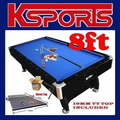 AU1049.99 • Buy PUB SIZE 8FT POOL TABLE SNOOKER BILLIARD TABLE BLUE / BLACK WITH 19mm TABLE TENN