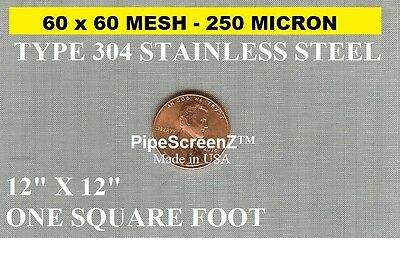 (5 PACK) Of 12X12 250 Micron STAINLESS STEEL MESH SIFTER EXTRACTOR FILTER SCREEN • 26.23£