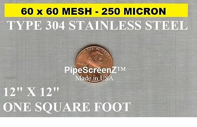NEW 12 X12 (1sqft) 60 Mesh/250 Micron/Stainless Steel UNCUT PIPE SCREEN SQUARE   • 8.48£