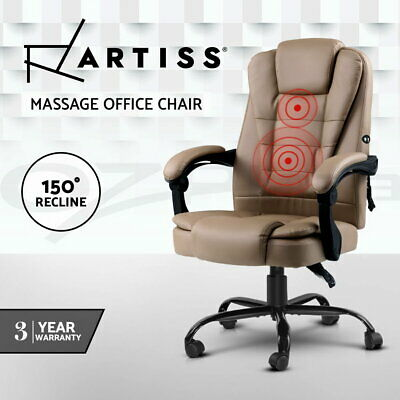 AU141.95 • Buy Artiss Massage Office Chair PU Leather Recliner Computer Gaming Chairs Espresso
