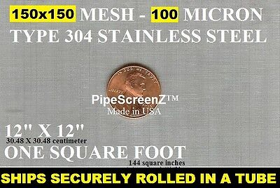 12X12 FINE 150 Mesh/100 Micron STAINLESS STEEL SIFTER FILTER Woven Wire Screen • 7.86£