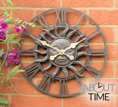 Decorative Garden Sun Clock In A Copper Finish - 38cm (15 ) By About Time? • 42.99£