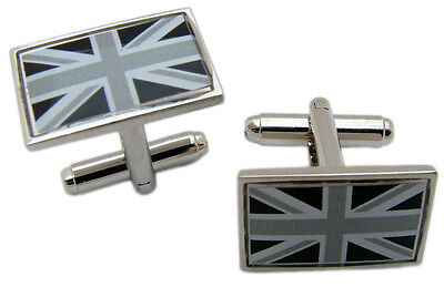 £4.99 • Buy Union Jack Flag Cufflinks Black White Badge Mens Gents Novelty In Gift Pouch