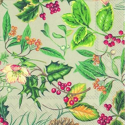 Christmas Branches Linen Holly & Berries Paper 33cm Square Lunch Napkins 20 Pack • 4.74£