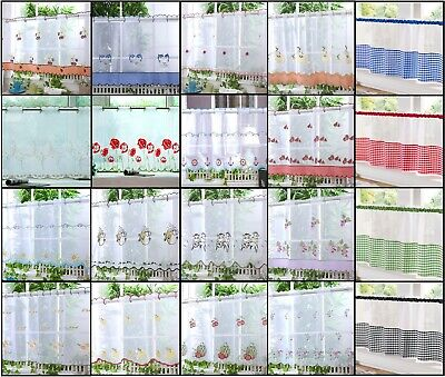 £8.89 • Buy Kitchen Voile Cafe Net Curtain Panel 32 NEW Designs 12  18  24  Drop FREE POST