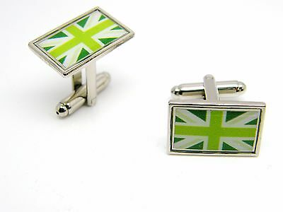 £4.99 • Buy Union Jack Uk Green Flag Badge Cufflinks Mens Gents Novelty In Gift Pouch
