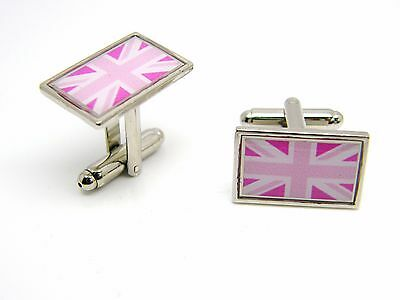 £4.99 • Buy Union Jack Uk Pink Flag Badge Cufflinks Mens Gents Novelty In Gift Pouch