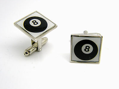 £4.99 • Buy 8 Cue Ball Pool Sport Badge Cufflinks Mens Gents Ladies Novelty In Gift Pouch