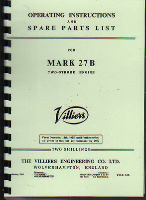 Villiers 'MARK 27 B'' Stationary Engine Operating Parts Manual Book • 7.80£