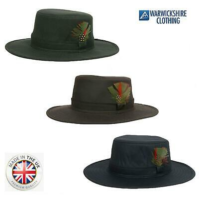 Country Classics Mens Fishing Wax Aussie Outback Bush Hat With Wide Brim Feather • 14.99£
