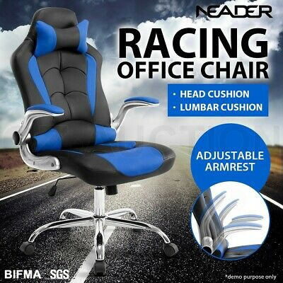 AU169.95 • Buy Executive Office Racing Chair Gaming Computer Seat PU Leather Removable Headrest