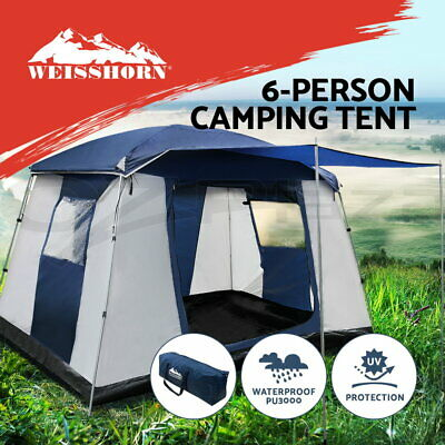 AU124.90 • Buy Weisshorn Family Camping Tent 6 Person Hiking Beach Tents Canvas  Ripstop