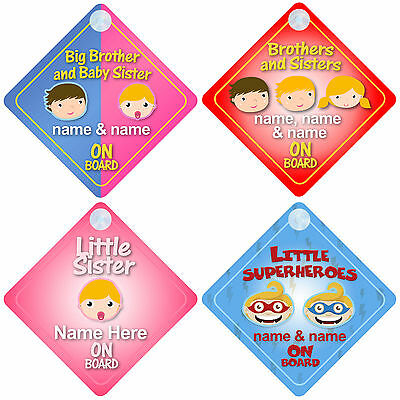 £3.53 • Buy Brother & Sister On Board Car Signs Child/Baby - Choice Of 30 Different Designs