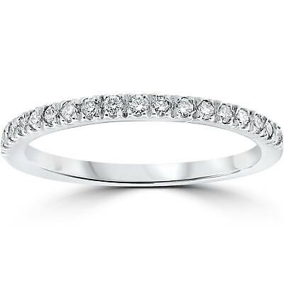 $130.99 • Buy 1/3 Ct Pave Diamond Wedding Pave Ring Womens Stackable Band 14K White Gold