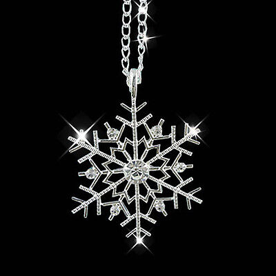 $0.99 • Buy Christmas Crystal Snowflake Silver Charm Chain Necklace Pendant Jewelry Gift New