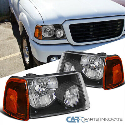 $68.95 • Buy 01-11 Ford Ranger Pickup Black Headlights Headlamps+Corner Turn Signal Lights