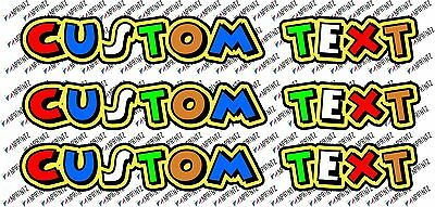 3x Valentino Rossi Style The Doctor Text  Custom Decal Stickers  46  - Your Name • 6.99£