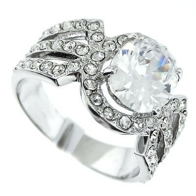 Ladies 9x7 Mm Oval Clear 1.8ct CZ Silver Rhodium Plated Ring Size 8 • 11.99£