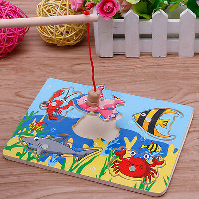 £3.89 • Buy Magnetic Fishing Game 3D Jigsaw Puzzle Board Children Kid Educational Wooden Toy