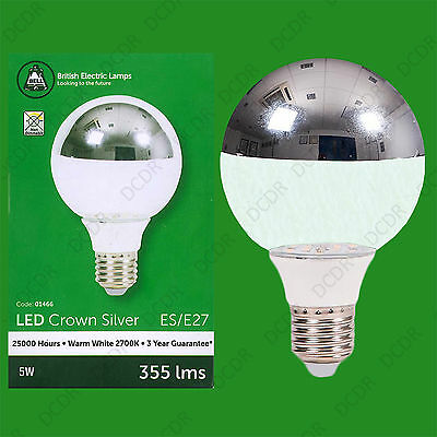2x 5W LED Instant On Crown Silver Top Reflector G80 Clear Light Bulb Lamp ES E27 • 17.49£