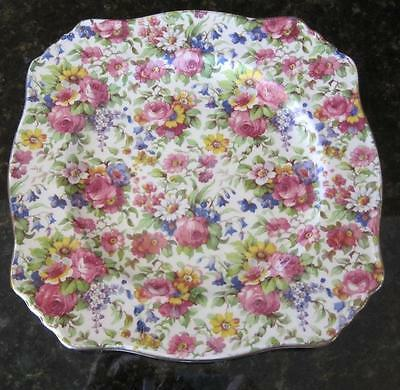 $ CDN57.09 • Buy Royal Winton Summertime Chintz Square Salad Plate 8  Grimwades Gold Trim