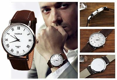 Men's White Dial Contemporary Analogue Quartz Watch With Grained Leather Strap • 8.05£