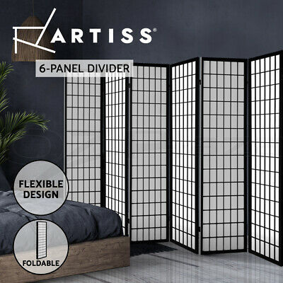 AU163.95 • Buy Artiss 6 Panel Room Divider Screen Solid Dividers Timber Privacy Stand Black