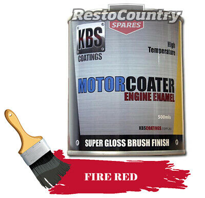 AU74.90 • Buy KBS Motor Coater Engine Enamel 500mls FIRE RED High Temperature Paint