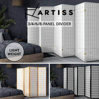AU109.95 • Buy Artiss 3/4/6/8 Panel Room Divider Privacy Screen Wooden Dividers Timber Stand