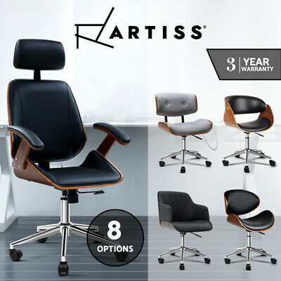 AU105 • Buy Artiss Office Chair Computer Leather Chairs Executive Wooden Seating Vintage