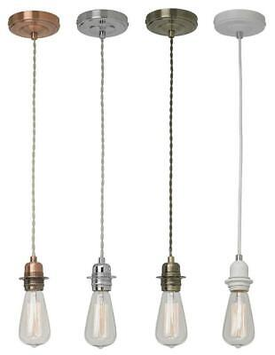 Light Pendant Fitting Ceiling Rose E27 Suspension Set Fabric Corded 4 Colours • 16.48£
