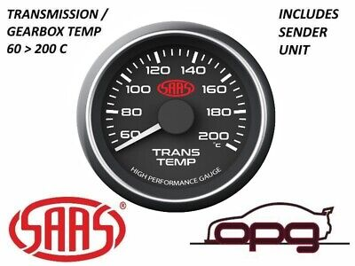AU79.99 • Buy SAAS Performance Trans Oil Temp 60-200 C 52mm Analog Gauge Black Face 4 Colour