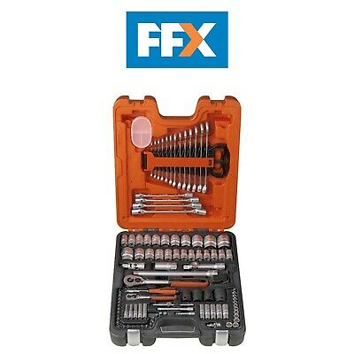 Bahco BAHS106 Socket Set 106-Piece 1/4  1/2  Drive Ratchet Wrench Garage Tool • 115£