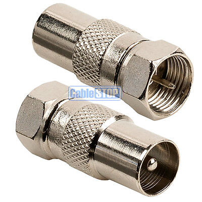 £2.17 • Buy 2 X MALE COAX PLUG To F TYPE MALE PLUG TV Aerial Sky Connector Adapter
