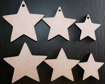 Laser Cut Wooden Star Shapes Wedding Xmas Embellishments Craft 40,50,60,80,100mm • 2.84£