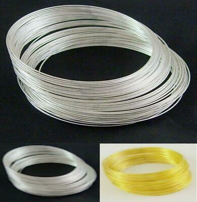 60 COILS 55mm X 0.6mm BRACELET MEMORY WIRE SILVER OR GOLD PLATED • 2.19£