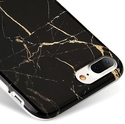AU11.83 • Buy For IPhone 7+ / 8+ PLUS - Hard TPU Rubber Case Cover Black Gold Marble Pattern