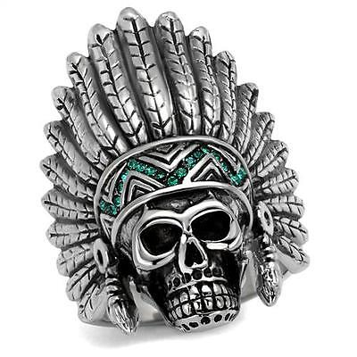 £14.13 • Buy Large Indian Head Crystal Stones Silver Stainless Steel Mens Ring