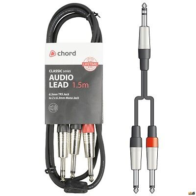 UKDJ 1.5m Meter Twin 1/4  Mono Jack Plugs To Stereo 6.35mm Mono Jack Cable Lead • 6.99£