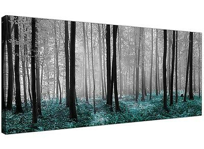 £44.99 • Buy Modern Black White And Teal Canvas Prints Of Forest Trees For Your Dining Room