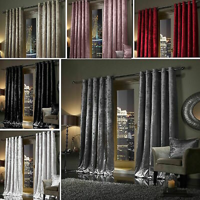 Plush Crushed Velour Faux Velvet Pencil Pleat Or Eyelet Ring Top Pair Curtains  • 33.24£