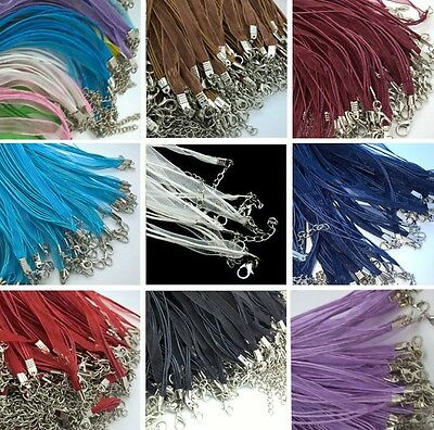 £2.99 • Buy 10 New Organza Ribbon And Waxed Cord Necklace With Lobster Clasps & Chains N01