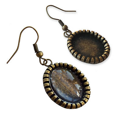 13x18mm Oval Antique Bronze Earrings Dangles GLASS Cameo Frame Cabochon Settings • 1.99£