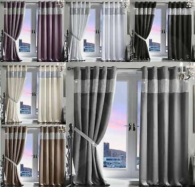 Diamante Thermal Blackout Pair Curtains Ready Made Eyelet Ring Top Fully Lined • 30.10£